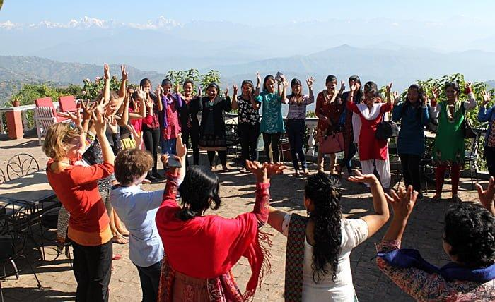 Pilot training with a group of local young women in Nepal