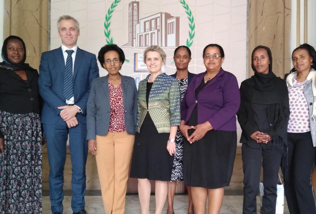 Suomalaisia ja etiopialaisia poliitiikoja ryhmäkuvassa